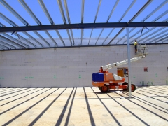 Roof purlins installed off EWP